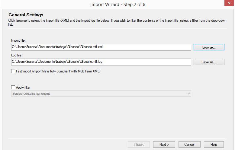 Archivo de importacion