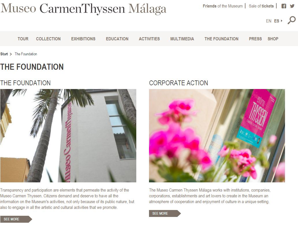 Página web del Museo Carmen Thyssen de Málaga traducida por Nóvalo