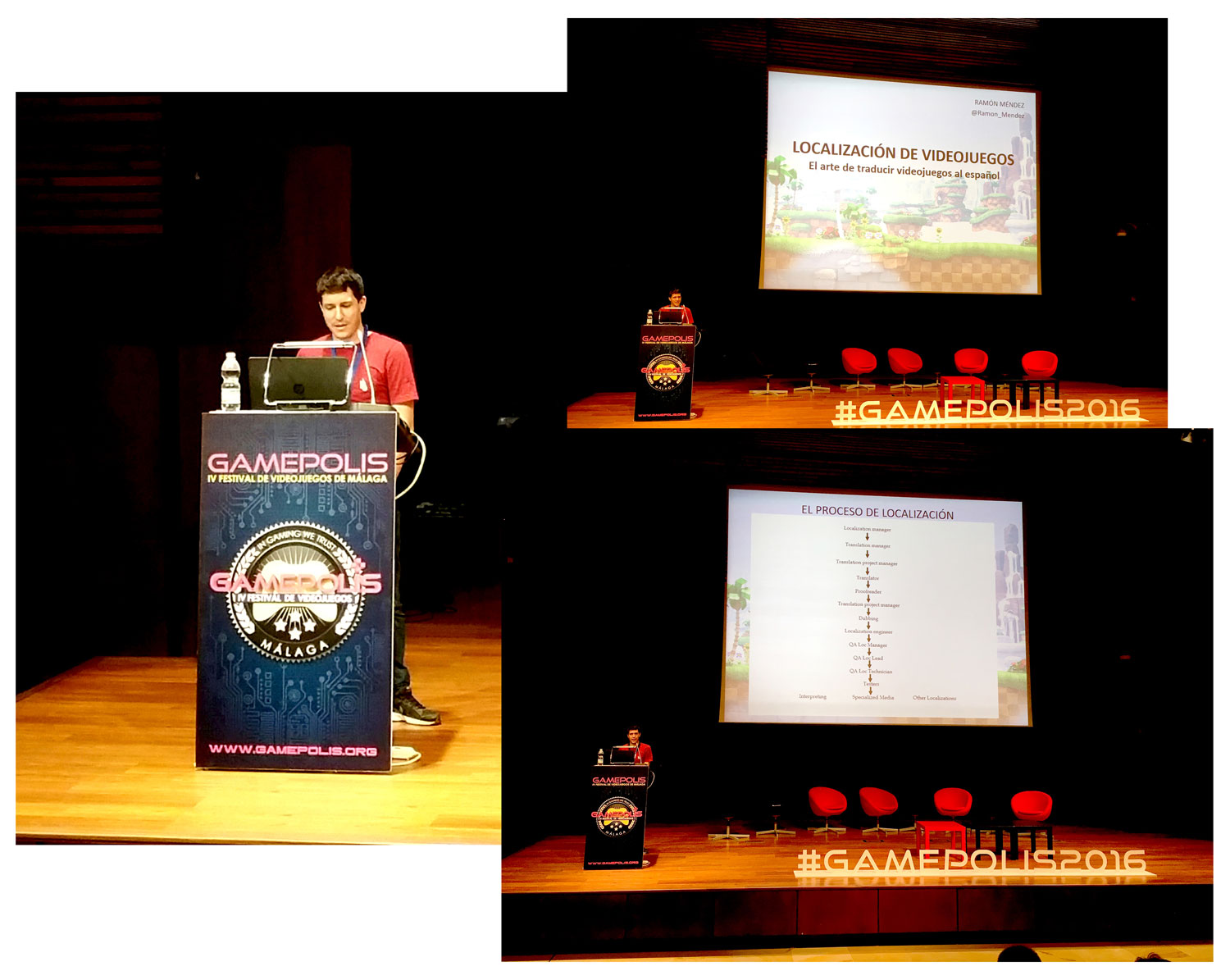 The professional translator Ramón Méndez in his talk about video game localization.