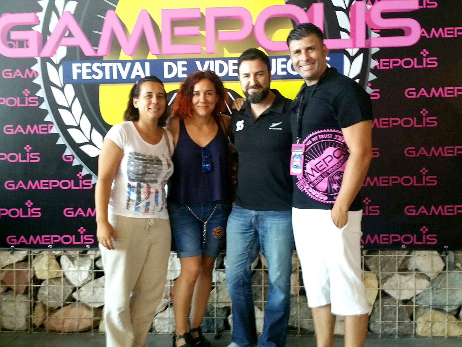 Some members of Novalo team together with a member of the Gamepolis 2016 organization staff, Rafael Hurtado.