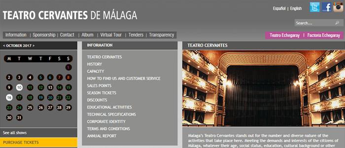 Localización de la web del Teatro Cervantes de Málaga