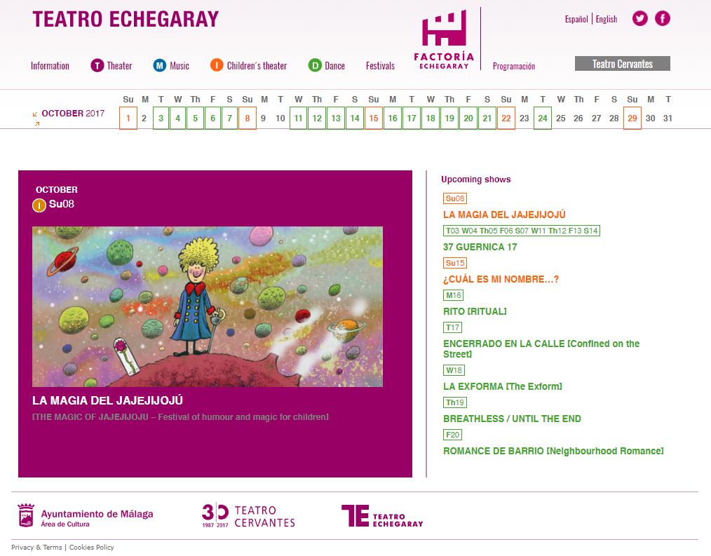 Localización de la web del Teatro Echegaray
