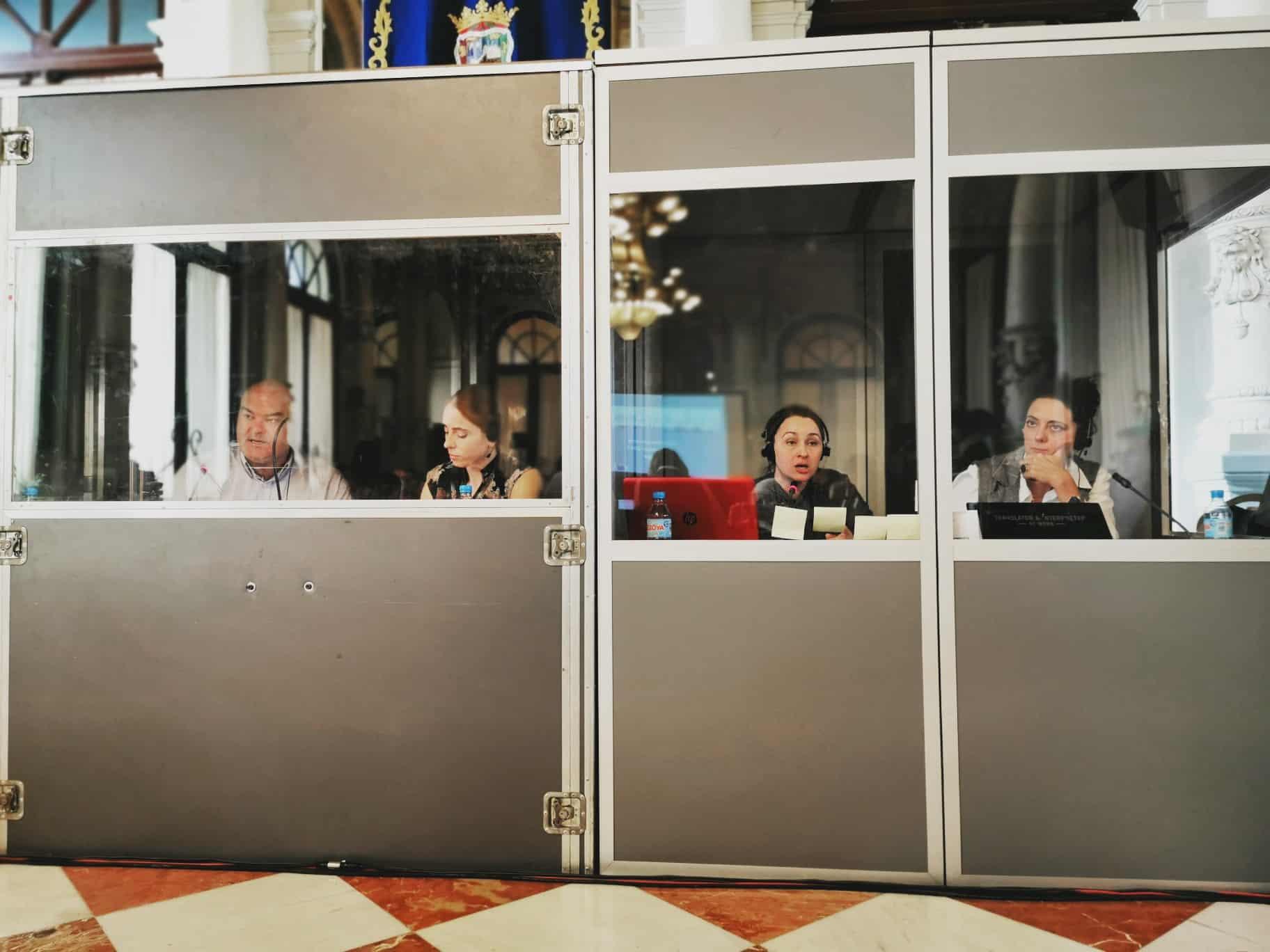 Intérpretes profesional durante la interpretación